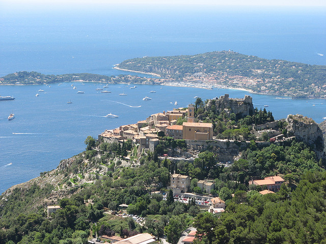 Eze and Cap Ferrat, viewed from the Grande Corniche