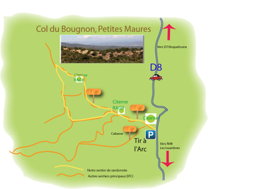 Col du Bougnon Hike Map, Maures Mountains